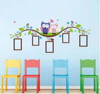 Wholesale Vinyl Autocollant - New Fashion Owl Picture Frame Wall Stickers Favorite Mascot Wall Stickers Decorate The Sitting Room Kids Bedroom Stickers autocollant mural