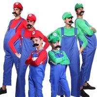 Wholesale Luigi Costume Kids - Men Boys Super Mario Luigi Bros Workmen Plumber Uniform Carnival Fancy Dress Set cosplay