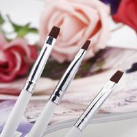 Wholesale Nail Kit Prints - Professional 3PCS Nail Art Design Painting Tool Pen Polish Brush Kit Gel UV Nail Print Brush Set