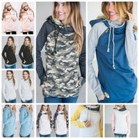 Wholesale Lace Up Winter Coats - Women Finger Hoodie Digital Print Coats Zipper Lace Up Long Sleeve Pullover Winter Blouses Outdoor Sweatshirts Outwear 9 Styles 50pc OOA3396