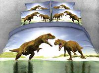 Wholesale Dinosaur Bedding Queen - Wholesale- JF-043 Kids dinosaur bedding sets twin full queen super king size 3D doona cover set T-Rex duvet cover bed linen sheets