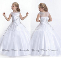 Wholesale Royal Blue Wedding Flowergirl Dresses - 2016 Cheap Crystal Short Sleeves Flowergirl White Flower Girl Dresses Gowns Little Girls Pageant Dresses Size Little Pageant Gowns for Girls