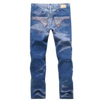 jeans de bandera americana para hombre al por mayor-Nueva marca Robin Jeans para hombres Denim con alas American Flag Jeans Straight Slim Gym Joggers pantalones para hombre Robins Jeans Plus Size 30-42