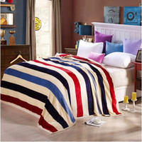 Wholesale Stripe Coral Fleece Blanket - 2016 Time-limited Coral Fleece Home All 150*200cm 180*200cm 200*230cm New Arrival Colorful Stripes Print Pastoral Style Coral Fleece Blanket