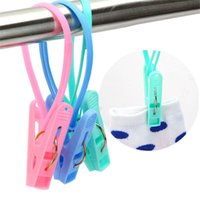 Wholesale Windproof Clothes Pegs - Plastic Clothes Pegs Portable Home Travel Hangers Rack Towel Clothespin Windproof Laundry Storage Random Color 12PCS
