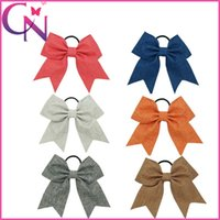 Wholesale Wholesale Metallic Fabric - 18 pcs lot 8 inch Wholesale 6 Colors Solid Fabric Baby Girls Cheerleading Bows With Elastic Band