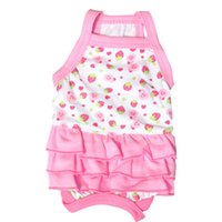Wholesale Strawberry Products Wholesale - New spring dog cloth Cotton Strawberry pet skirt Pet vest dress Pet dress wholesale Products for mimi animals 3 colors Teddy dress
