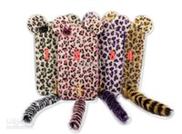 Wholesale Leopard Iphone 4s Case - Cartoon Plush Leopard soft TPU silicone fluffy cat tail case for iphone 4 4S 5 5S 5G & 4 colours