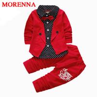 Wholesale Fake Two Pieces Jacket - MORENNA 2017 Boys Autumn Two Fake Clothing Sets Kids Boys Button Letter Bow Suit Sets Children Jacket + Pants 2 pcs Clothing Set Baby