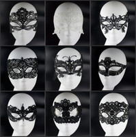 Wholesale Cheap Masquerade Party Decorations - Cheap Sale 10pcs Fashion Design Black White Lace Masquerade Face Masks For Halloween Xmas Party Decorations Jewelry Supplies Free Shipping