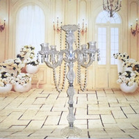 Wholesale Metal Glass Candle Holder - New arrival 90cm height Acrylic 5-arms metal candelabras with crystal pendants wedding candle holder centerpiece 1 lot=5 pieces