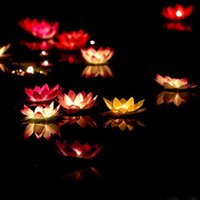 Wholesale Lotus Water Lanterns - 10pcs Romantic Lotus Lamps ,Wishing Lantern Water Floating Candle Light ,Birthday Wedding Party Decoration ,Free Shipping .