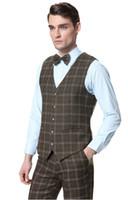 тонкий костюм оптовых-Новый формальный костюм жилет мужчины шерсть зеленый плед жилеты Мужские 2 шт Slim Fit свадьба твидовое платье жилеты четыре кнопки (брюки+жилет)