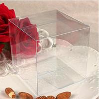 kare hediye kek toptan satış-50 adet / grup 8 * 8 * 8 cm Evrensel Kare Temizle PVC Ambalaj Kutusu Plastik Kaplar Meyve Hediye Kutusu Şeker Çikolatalı Kek Kutusu Ücretsiz Kargo