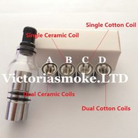 Wholesale factory replacement - Factory Price Glass Globe Tank Wax And Herb Vaporizer Dual coil Replacement Ceramic Cotton Coils Glass Atomizer Wax Glass Aomizer