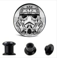 Wholesale Double Flared Acrylic Tunnels - Acrylic Star Wars Logo Ear Gauge Plug And Tunnel Stretching Expander 4-16mm Double Flared Screw Fit Plug Piercing