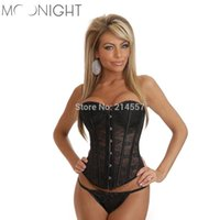 Wholesale Cheap Corsets For Waist Training - Wholesale-Sexy Plus Size Waist Training Corset And Bustier Black And White Overbust Corsets Cincher For Women cheap corset tops 832