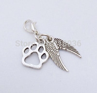 Wholesale Angels Clips - Fashion Vintage Angel Wings Dog Paw Prints Clip Floating Locket Charms Pendants For Bracelet Jewelry Girls Bijoux Accessories 50pcs K01