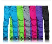 Wholesale Size Xs Pants For Women - Wholesale-Outdoor Windproof Waterproof Double Layer Female Male Winter Ski Suit Snow Pants For Men Women 6 Colors Size XS-3XL