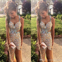 Wholesale Spaghetti Strap Nude Sequin Dress - Sparkly Gold Party Dresses with Crystal Rhinestones 2017 Long Prom Dresses With Cross Strips Back Side Split Evening Dresses for Women