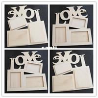 quadros de arte venda por atacado-Chegam novas Oco Amor Moldura De Madeira Moldura Branca Base de Imagem DIY Art Decor