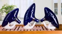 zelda flöte großhandel-Neu eingetroffen 12-Loch New Ocarina Ceramic Alto C Legende des Zelda Ocarina Flute Blue Instruments