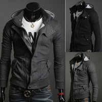 Wholesale Mf Black - Fashion Mens Smart Slim Top Great Designed Sexy Hoody Jacket Coat Solid Color Zipper Turn-down Collar Casual Outerwear MF-3656B