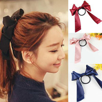 Wholesale Plastic Hair Bow Holders - Colorfully Boutique Bows Elastic Hair band for girl and woman hair Accessories Ribbon Bow Hair Tie Rope Hair Band
