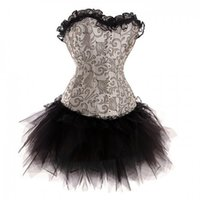 Wholesale Brocade Skirt - Wholesale-Silver Black Burlesque Lace up Boned Brocade Corset Tutu Skirt Set Fancy Burlesque Dress