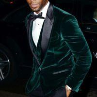 Wholesale Green Man Wedding Suit - Green Velvet Evening Party Men Suits 2018 Black Peaked Lapel One Button Blazer Three Piece Groom Wedding Tuxedos