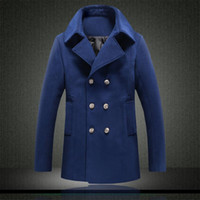 Herbst-Chaqueton Abrigo Hombre 2015 Wolle Winter Jacket Mens Peacoat Manteau Homme 5XL 4XL Large Size Pea Coats Männer Zweireihiger Mantel