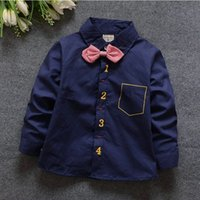 Wholesale Kids Necktie Shirts - 2016 Fashion boys cotton shirt cool figure print necktie bow long Sleeve Shirt spring Children Shirts Kids tee Clothing bc206