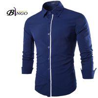 Wholesale Bingo Shirts - Wholesale-Bingo 2016 M-XXL European & American Men's Placket spell color pointed collar men cultivating cotton casual long-sleeved shirt