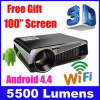Wholesale Smart 3d Led Hd Tv - Wholesale-5500 lumens smart Android 4.4 lcd tv led projector full hd accessories 1920x1080 3d home theater projetor video proyector beamer