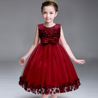 Wholesale Color Wine Red Dress - Kids Infant Girl Flower Petals Dress Children Bridesmaid Toddler Elegant Dress Vestido Infantil Formal Party Dress Wine red