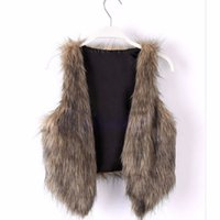 Wholesale wholesale faux fur vests - Wholesale-Woman Vintage Trend Celeb Faux Fur Waistcoat Vest Jacket Shawl Coat Tops S-XL