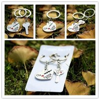 Wholesale Fashion Couple Lovers Keychain - Free DHL Keychains Zinc Alloy Silver Plated Lovers Gift Couple Heart Keychain Fashion Keyring Key Creative Key Chain 400PCS LA49-4