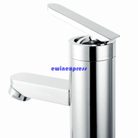 Wholesale modern bathroom faucet waterfall - Modern Bathroom Basin Sink faucets Tap Brass Chrome Faucet Waterfall spout design Single Handle Hot Cold Water Bathroom accessories