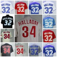 Wholesale 32 Shorts - Mens Roy Halladay Jersey Toronto #32 Philadelphia #34 Baseball Jerseys White Red Black Blue Stitched
