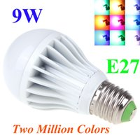 Wholesale Two Color Changing Led Bulbs - E27 High Power LED Multi Color Change RGB Color Light Led Bulb Lamp Remote Control Spotlight Two Million Colors 9W