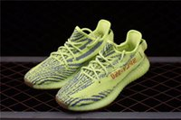 Wholesale Labels For Shoes - Real label Kanye West 350 Boost V2 Semi Frozen Yebra Yellow Running For Men Women With Original Box Sneakers Authentic Quali Shoes B37572