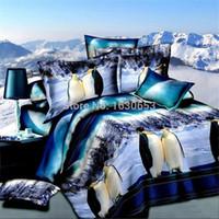 Wholesale 3d Penguin - Wholesale-Penguin Free shipping 3D bedding set duvet cover bedspread bed sheet linen lover ropa de cama bedclothes sabanas funda nordica