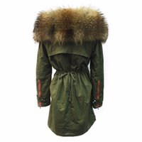 women s long parka UK - New 2017 Winter Jacket Women Large Raccoon Fur Collar Thick Loose size Coat outwear Parkas Army Green