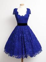 bayanlar mavi resmi elbise toptan satış-Kraliyet Mavi Parti Elbiseler Ile Sashes Dantel Kumaş Kokteyl Önlükler Trendy Lady Kısa Vestidos De Fiesta Resmi Olay Elegnat Parti Elbise