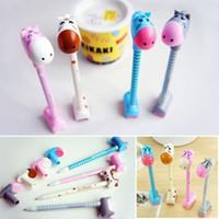 Wholesale Giraffe Pens - 50pcs lot Cut Donkey Hippo Giraffe Style Ballpens With Holder Office Studying Ballpoint Pens Girls Accessories os184
