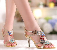 Wholesale Bridesmaid Shoes Gold Sandals - High Heel Sandals Beaded Rhinestone Open Toe Lady Bridesmaid Summer Cool Elegant Shoes Bridal Wedding Dresses Shoe