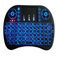 Wholesale Mini Bluetooth Touchpad - Rii Mini i8 Wireless Keyboard Bluetooth Keyboards Touchpad game Fly Air Mouse Remote Control Multi-media Handheld free ship