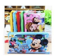 Wholesale Transparent Pens - 50pcs lot Wholesale PVC Transparent Cartoon Pencil case pen bag stationery Coin Purse Kids birthday Gift Favor Size:19*10cm