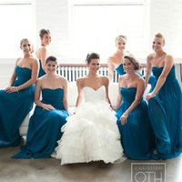 Wholesale Turquoise Brides Maids Dresses - Fashion Long Chiffon Turquoise Bridesmaid Dresses under 90 Cheap Sweetheart Floor Length Bride Maid of Honor Dress for weddings
