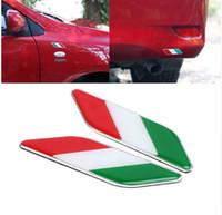emblemas decalques ford venda por atacado-2X Auto 3D Itália Bandeira Italiana Emblema Emblema Decalque Etiqueta Do Carro Fender Styling Para Ferrari Fiat Panda Kia VW Polo de Golfe Ford Chevys